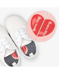 Left and Right Shoe Labels - Heart